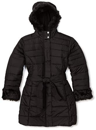 Big Chill Girls 7-16 Long Belted Jacket, Black, Medium(10/12)