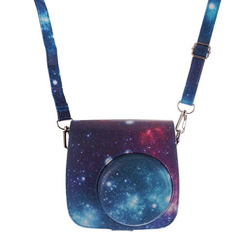 [Fujifilm Instax Mini 8 Classic Camera Case Series]-Woodmin Exclusive Starry Sky Galaxy Pu Leather Protective Fuji Camera Case With Shoulder Strap For Instax Mini 8 Camera (Blue)