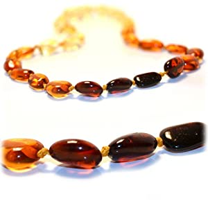 "The Art of Cure TM - Baltic Amber Baby Teething Necklace - Large Bean Rainbow Amber Beads - w/ ""The Art of Cure TM"" jewelry storage pouch from The Art of Cure"