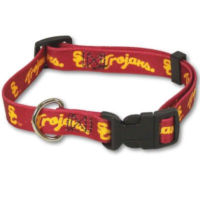 USC TROJANS OFFICIAL EMBROIDERED LOGO DOG PET COLLAR SZ MEDIUM