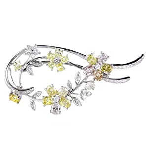 Diamond 18k White Gold Brooch Pin