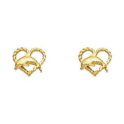 Wellingsale® Ladies 14k Yellow Gold Polished Heart Dolphin Stud Earrings (10 X 10mm)