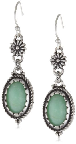 Lucky Brand Silver-Tone Green Double Drop Earrings