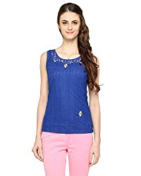 Bedazzle Casual Sleeveless Solid Women's Blue Top