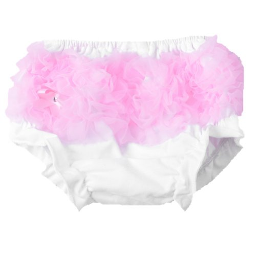 Masione Baby Girls Ruffle Panties Briefs Bloomer Diaper Cover~Rainbow~Colorful (Size-M, White--Pink) front-643924