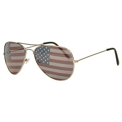 American Flag USA Classic Teardrop Metal Aviator Sunglasses (Silver)