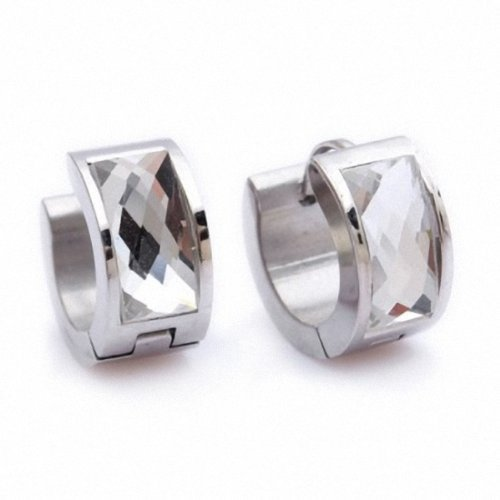 Kultpiercing Queen Silver Creole Earring Stainless Steel / Clip-on Closure Transparent by KULTPIERCING