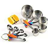 Premium Stainless Steel Measuring Cups and Spoons Stackable Set, 10 Pieces with Bonus 2-Step Knife Sharpener. Cook Like a Chef Using Professional Bakeware to Measure Food Properly in your Kitchen.