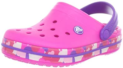 Crocs 14607 CB Heart Camo Clog (Toddler/Little Kid),Neon Magenta/Neon Purple,10 M US Toddler