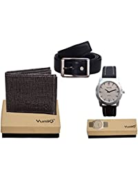 Combo Pack Of Black Denim Shade Wallet With Black Belt With YuniiQ Stylish Wrist Watch.