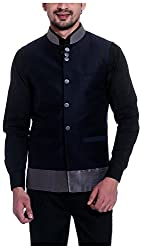 THREADS Men's Silk Ethnic Jacket (JJ156, Navy Blue, 40)