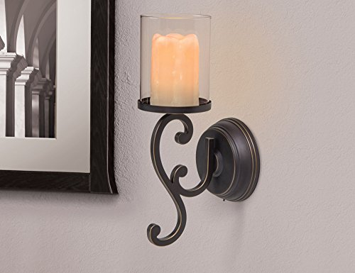 Wall Sconce With Led Timer Candle : Candle Impressions Flameless LED Candle Wall Sconce - Rubbed Bronze Swirl Des... eBay