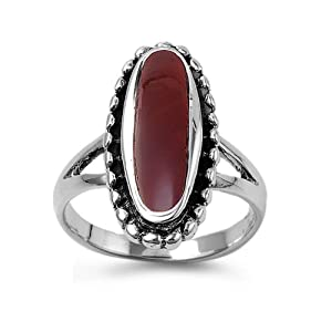 Sterling Silver 21mm Oval Carnelian Ring (Size 5 - 9) - Size 8