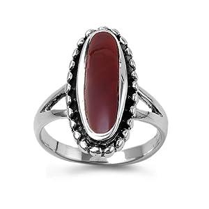 Sterling Silver 21mm Oval Carnelian Ring (Size 5 - 9) - Size 5