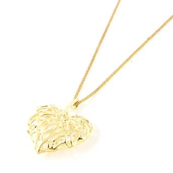 Gold Tone Hollow Heart Pendant Sweater Necklace Gift for Women Lady