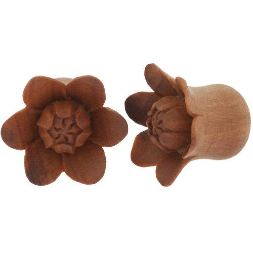 Pair of Sabo Wood Bali Blooms: 5/8