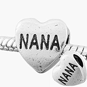 Pandora Style Antique Silver Plated NANA Heart Shaped Bead *Fits Pandora, Chamalia, Biagi