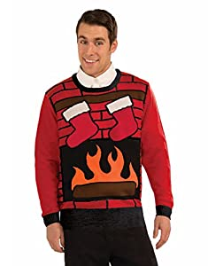 Adults Mens Fireplace Hearth Stockings Ugly Christmas Eve Party Sweater by Forum Novelties