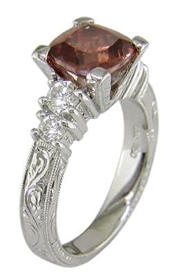 18KW Imperial Zircon & Diamond Ring - Size 6 1/2