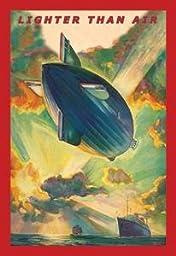 30 x 20 Canvas. Lighter Than Air - Air Ship traverses the ocean high above passenger