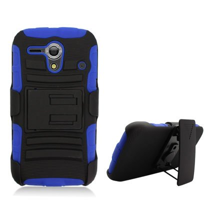 Cell Accessories For Less (Tm) For Kyocera Hydro Edge C5215 Blue Armor, W/ Black Belt Clip & Black Stand + Bundle (Stylus & Micro Cleaning Cloth) - By Thetargetbuys