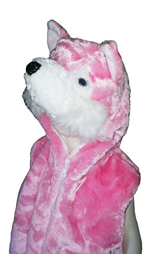 Fashion Vest with Animal Hoodie for Kids - Dress Up Costume - Pink Wolf -Medium