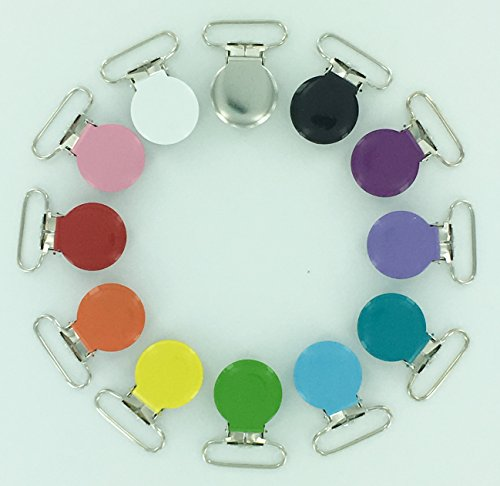 12-Starter-Pack-Enamel-Round-Face-1-Suspender-Clips-with-Rectangle-Inserts-for-SootherPaciPacifierDummyBibToy-Holder-Clips