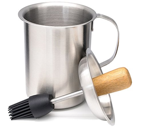 Best Deals! A1PP Sauce Pot and Silicone Grill Basting Brush - Stainless Steel Pot w/ Bamboo Feature ...