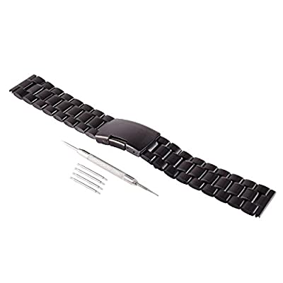 FORESEEX 22mm Replacement Metal Stainless Steel Bracelet Watch Band Strap Straight End Solid Links for Original Pebble, Pebble Time, Moto 360 2nd Gen 46mm, Lg G Watch R W100 W110 Spring Bar Pins