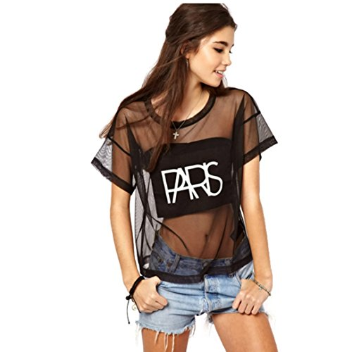 Women Crop Tops Mesh See-through Letter Print