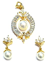 M Gold Designer 18k Gold Plated Diamond Pendant Set White PS50GJ For Women