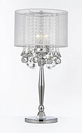 Silver Mist 3 Light Chrome Crystal Table Lamp With White Shade Contemporary Modern Desk Bedside
