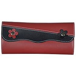 Cross Cut Designer Wallet-Black Red