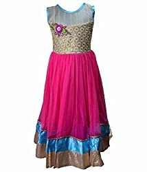 Motley Girls' Dress (8-9-M037_8-9 Years_Pink _8-9 Years)