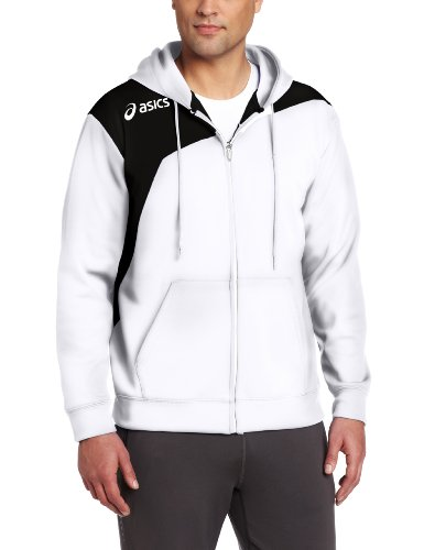 Asics Men'S Logo Fleece Jackets, X-Small, White/Black