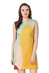 Binny Creation Women's Art Crepe Western Dress (BWD1001-Double-Yellow)