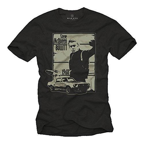 BULLITT - T-shirt Auto Mustang Eleanor Stampa Steve McQueen Nera L