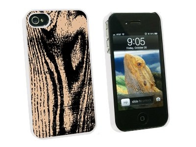 Wood Grain Tan - Snap On Hard Protective Case for Apple iPhone 4 4S - White