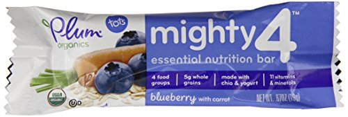 Plum Organics Mighty 4 Essential Nutrition Bars Blueberry with Carrot, .67 oz, 6 ct