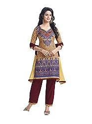 RK Fashion Womens Cotton Un-Stitched Salwar Suit Dupatta Material ( RAJGURU-PAHELI-9287-Beige-Free Size )