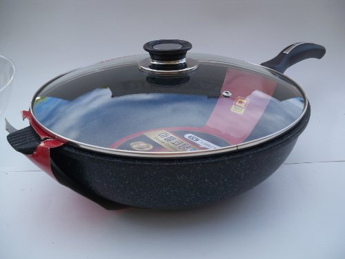 Ceramic Marble Coated Non Stick Cast Aluminium Wok with Lid, 32 cm (12.5 inches)