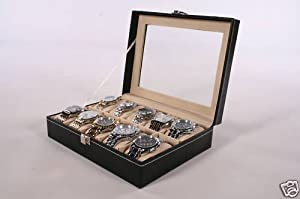 10 Watch Display Box Case Faux Leather