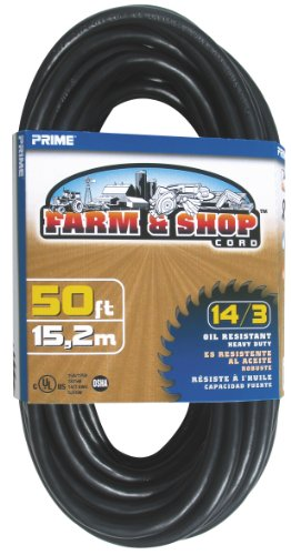Prime Wire & Cable EC532730 50-Foot 14/3 SJTOW Farm and Shop Extension Cord, Black