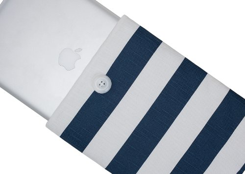 #>>  Kuzy - 15-inch Navy Blue Stripes Cotton Sleeve Handmade Cover for MacBook Pro 15.4