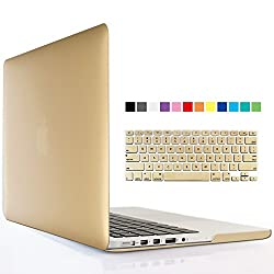 iBenzer - 2 in 1 Soft-Touch Series Plastic Hard Case Cover & Keyboard Cover for 13 inches Macbook Pro 13.3'' with Retina display (Model: A1502 / A1425 ), Gold MMP13R-GD+1