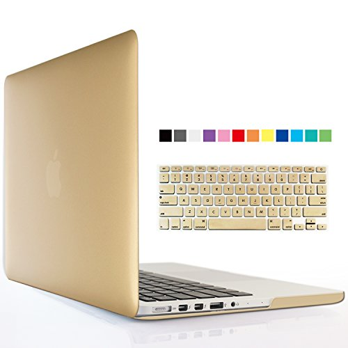 iBenzer - 2 in 1 Soft-Touch Series Plastic Hard Case Cover & Keyboard Coverfor 15 inches Macbook Pro 15.6'' with Retina display (Model: A1398 ), Gold MMP15R-GD+1