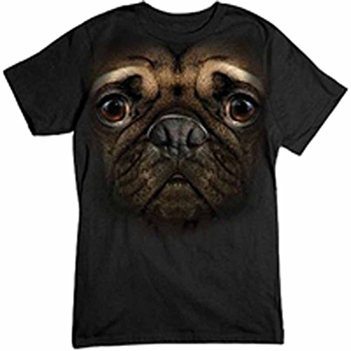 Publiciteez Men's Pug Big Face T-Shirt L Black