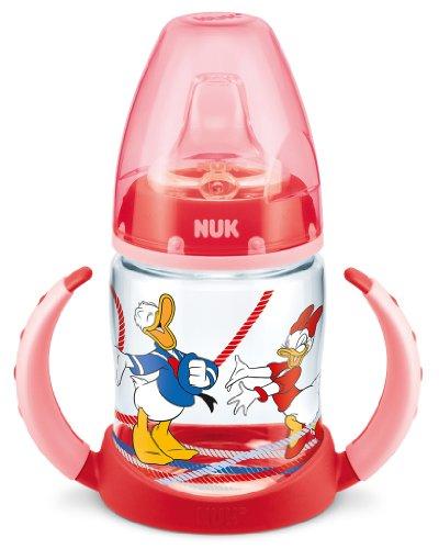 NUK 10215152 Donald First Choice Biberon di apprendimento in polipropilene 150 ml, Beccuccio morbido in silicone, privo di BPA, dai 6 Mesi, Rosso