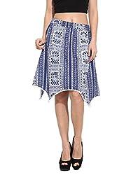 Albely Women's Cotton Printed Asymetric Skirt