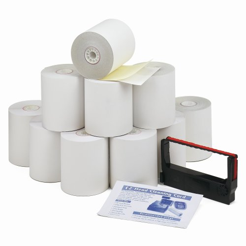 PM Company Perfection Credit/Debit Verification Roll Kit for Verifone 250 Printer, 1 Ribbon and Cleaning Card, 10 (2-Ply) White/Canary Rolls/Carton (09300)